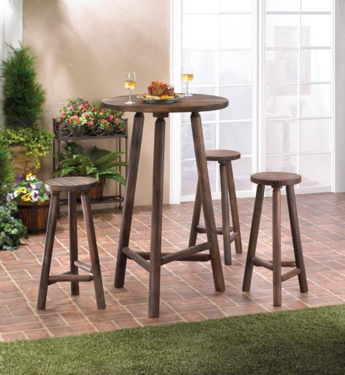 FIR WOOD BAR TABLE AND STOOLS SET (1)